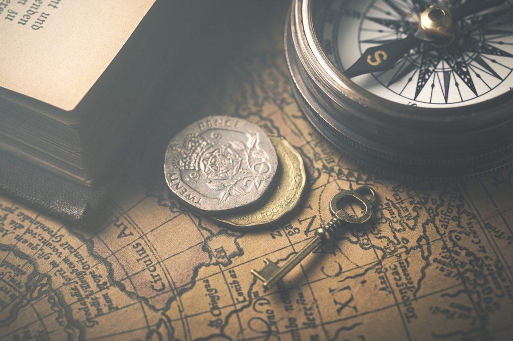 vintage, map, compass